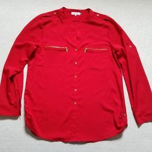 Calvin Klein blouse button up shirt red zipper L